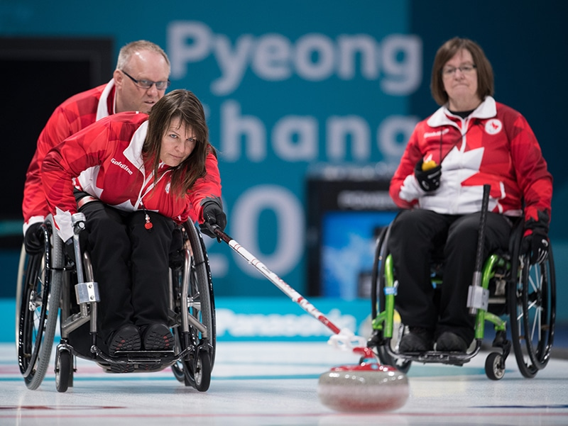 Ina Forrest CAN during a Wheelchair Curling practice session at The Gangneung Curling Centre. The Paralympic Winter Games, PyeongChang, South Korea, Thursday 8th March 2018. Photo: Joel Marklund for OIS/IOC. Handout image supplied by OIS/IOC