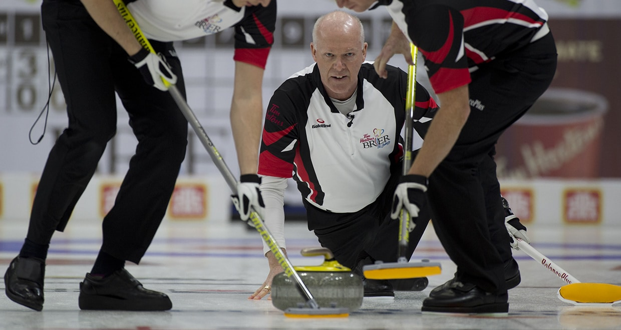 St.John's N.L.March 7, 2017.Tim Hortons Brier.Team Ontario skip Glenn Howard, lead Scott Howard ...