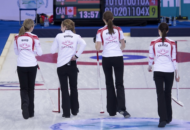 Cathlia Ward with Team Canada at the 2013 World Junior Curling Championships in Sochi, Russia (Photo WCF/Richard Gray)