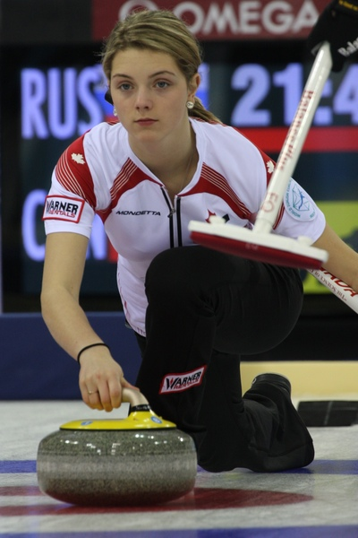 Cathlia Ward in action at the 2013 World Junior Curling Championships in Sochi, Russia (Photo WCF/Richard Gray)