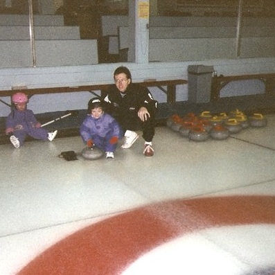 Learning to curl with Dad (Photo courtesy C. Ward)