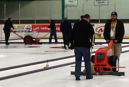 Students work on ice preparation during the Level 3 Ice Technician course in Sudbury, Ont. (Photo, CCA/Danny Lamoureux)