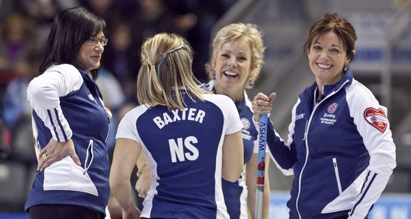 Team Nova Scotia skip Mary-Anne Arsenault third Kim Kelly, second Colleen Jones, lead Jen Bxterduring the sceond draw at the 2013 Scotties Tournament of Hearts, February 16-24, Kingston Onatrio, The Canadian Womans Curling Championship (Photo Andrew Klaver)