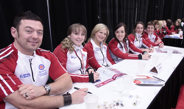 Team Newfoundland (right to left) Skip Heather Strong, third Laura Strong, Jen Cunningham, lead Stephanie Korab, fifth Noelle Thomas-Kennell coach  Jamie Korab. The 2012 Scotties Tournament of Hearts (Photo Andrew Klaver)