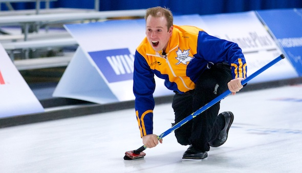 Alberta skip Dan Sherrard in action during the Men's Final of The Dominion Curling Club Championship (Photo Anil Mungal)