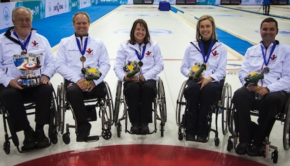 The Canadian team of, from left, Jim Armstrong, Dennis Thiessen, Ina Forrest, Sonja Gaudet and Mark Ideson will chase gold in Sochi. (Photo, World Curling Federation)