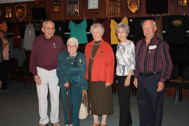Original Dundas Granite Club members gathered at an Open House to kick off the 50th Anniversary season. From left to right: Loring Pulsifer, Donna Pulsifer, Audrey Hartwell, Joyce Butler, David Robb (Photo courtesy B. Malcolmson)