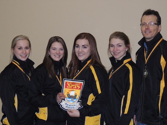 Team New Brunswick: skip Jessica Daigle, third Cathlia Ward, second Natalie Menzies, lead Katie Forward, coach Mark Ward (Photo courtesy C. Ward)