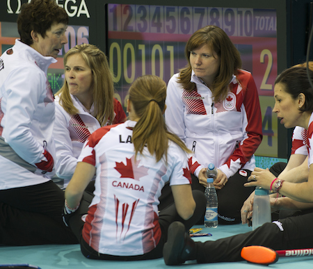 Team Canada alternate Kirsten Wall, second from right, has an important role to play with the team. (Photo, CCA/Michael Burns)