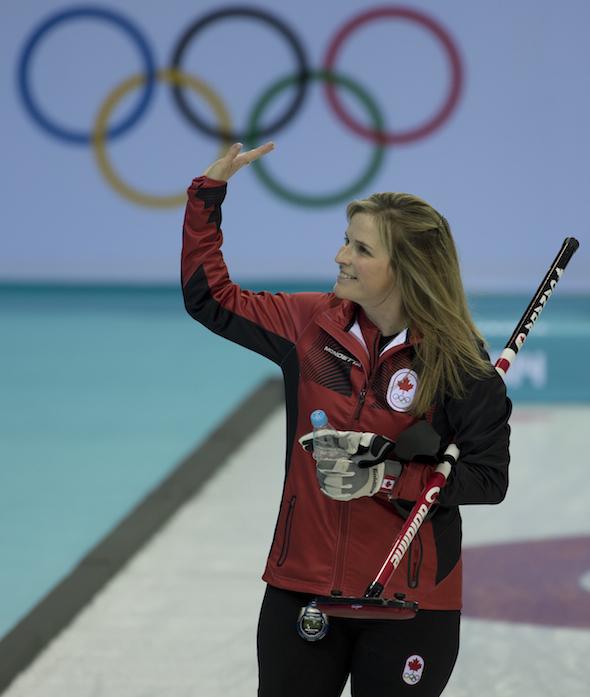 Team Canada skip Jennifer Jones celebrates win over Japan on Saturday. (Photos, CCA/Michael Burns)