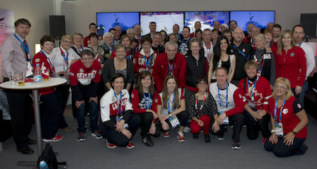 Team Canada with friends, family and guests at Canadian Curling Association reception on Friday at Canada Olympic House.