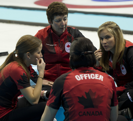 Coach Janet Arnott and Team Canada during the fifth-end break.