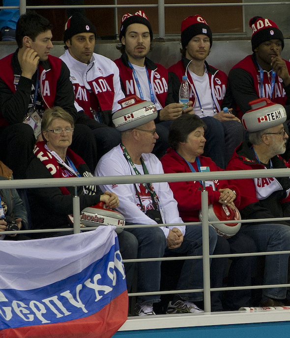 Members of the Canadian men's hockey team, back row, join Team Jacobs supporters on Saturday at the Ice Cube. (Photo, CCA/Michael Burns)