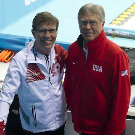 Former world championship teammates Rick Lang (Canadian national men's team coach), left, and Al Hackner (U.S. national men's team coach) went head to head on Sunday.