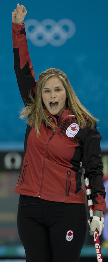 Team Canada skip Jennifer Jones celebrates Saturday night's win. (Photo, CCA/Michael Burns)