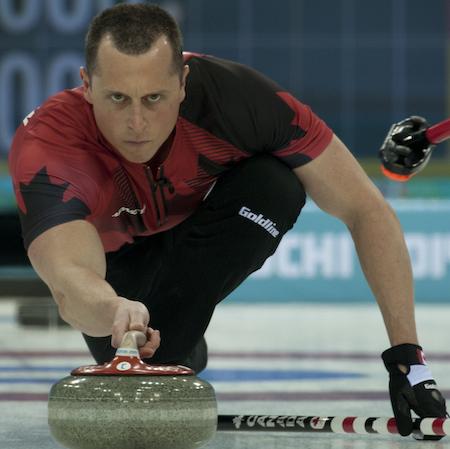 Team Canada second E.J. Harnden. (Photo, CCA/Michael Burns)