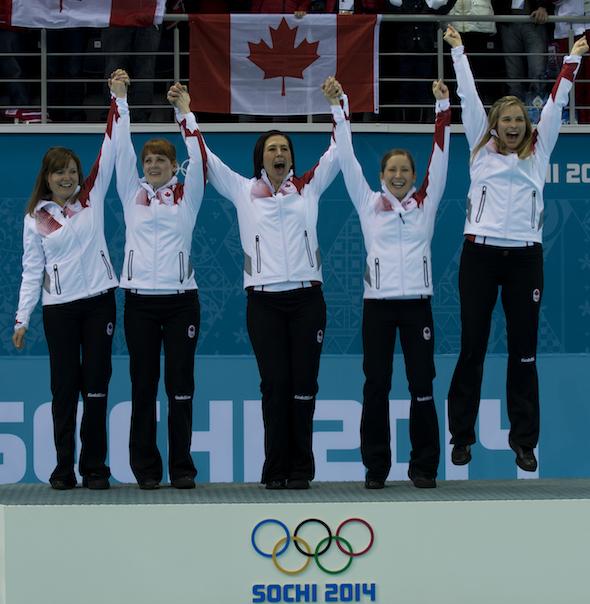 Team Canada, from left, Kirsten Wall, Dawn McEwen, Jill Officer, Kaitlyn Lawes and Jennifer Jones celebrate their gold medal. (Photos, CCA/Michael Burns)