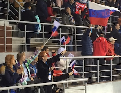 The Russian fans were lively on the first day of the Olympic curling competition.