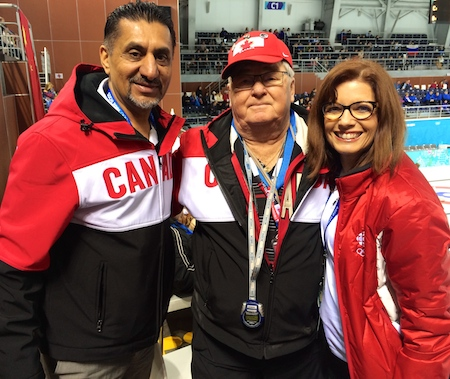 From left, Minister of State (Sport) Bal Gosal, Larry Jones (Jennifer's dad) and six-time Scotties champ Colleen Jones.