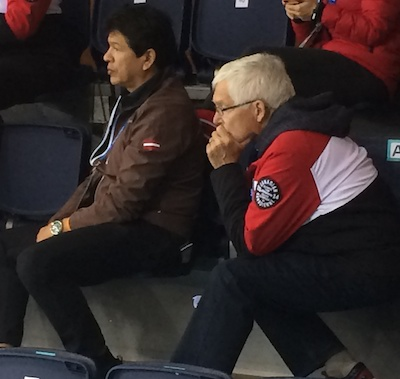 Two coaches from the Soo! Ted Nolan, left, is coaching the Latvian men's hockey team (in addition to his interim coaching job with the Buffalo Sabres) while Tom Coulterman is coaching Brad Jacobs' Canadian men's curling team.