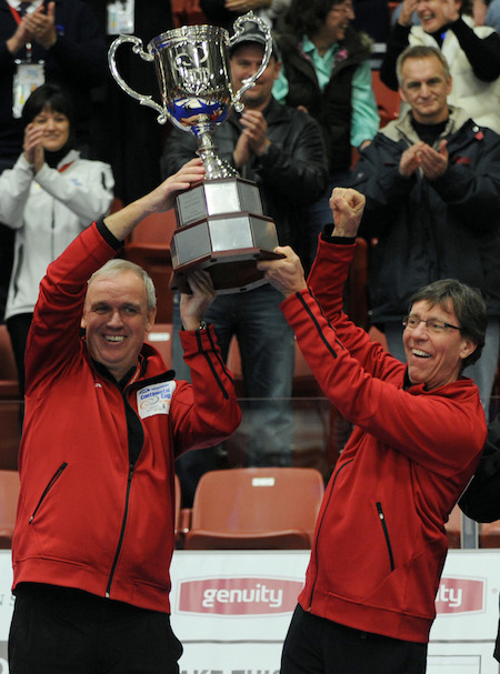Captain Neil Harrison and coach Rick Lang hold aloft the WFG Continental Cup trophy they won in 2011. (Photo, CCA/Michael Burns)