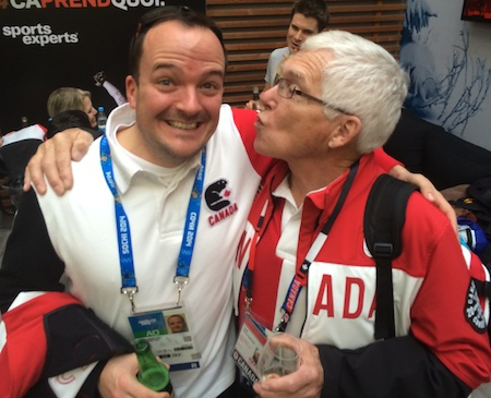 Team Canada Team Leader Paul Webster shares a special moment with Team Jacobs coach Tom Coulterman in Sochi.