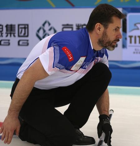 Czech Republic skip Jirí Snítil watches his shot on Monday. (Photo, World Curling Federation/Richard Gray)