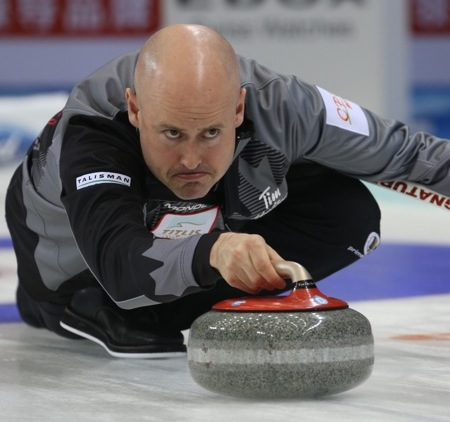 Team Canada skip Kevin Koe enjoyed a two-win Monday in Beijing. (Photo, World Curling Federation/Richard Gray)