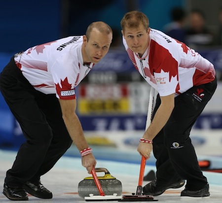 Team Canada sweepers Pat Simmons, left, and Carter Rycroft look for directions. (Photo, World Curling Federation/Richard Gray)