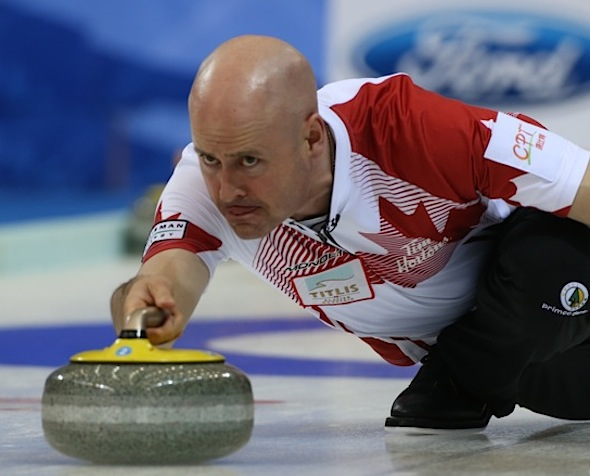 Kevin Koe was on target for Team Canada on Saturday at the World Men's Curling Championship. (Photo, World Curling Federation/Richard Gray)
