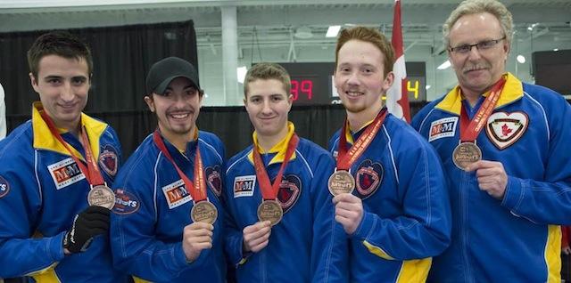 Bronze medallists: Cartner Lautner, Taylor Ardiel, David Aho, Kyle Morrison and Jim Lautner (CCA Photo )
