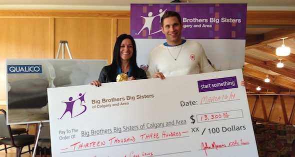 John Morris presents a cheque for $13,300 to Tracy Luca-Huger, Director of Service Delivery at Big Brothers and Big Sisters of Calgary and Area (Photo courtesy BBBS Calgary)
