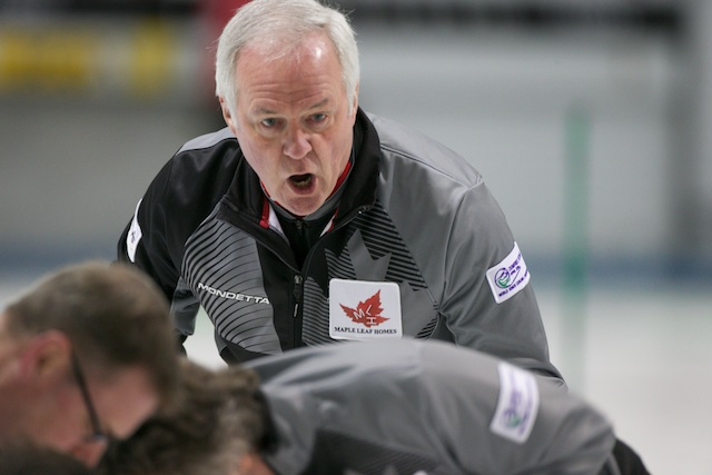 Wayne Tallon calls the sweep during playoff action at the 2014 World Senior Curling Championship in Dumfries, Scotland (Photo WCF/Richard Gray)