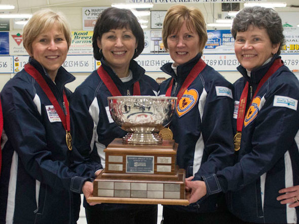 Colleen Pinkney's team from Truro, N.S. ((third Wendy Currie, second Shelley MacNutt, lead Susan Creelman) will be looking for Canada's 10th world senior women's curling championship. (Photo, Canadian Curling Association)