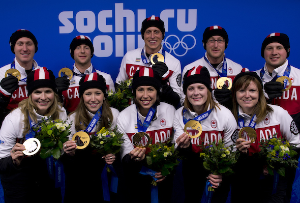 Some of Canada's gold-medal winning curlers from the Sochi Olympics will be participating in the first Swing & Sweep charity golf tournament in Niagara Falls, Ont. (Photo, CCA/Michael Burns)
