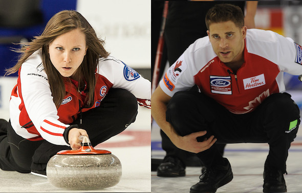 Teams skipped by Rachel Homan, left, and John Morris are part of the CCA's National Team Program for the 2014-15 season. (Photos, CCA)