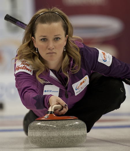 Chelsea Carey's Edmonton team prevailed over Val Sweeting at the World Curling Tour HDF Insurance Shootout on the weekend. (Photo, CCA/Michael Burns)