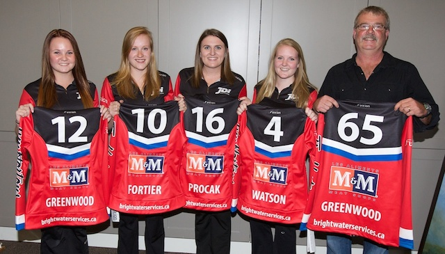 Team Greenwood, of the KW Granite Club in Kitchener, Ont. From left, skip Molly Greenwood, third Evie Fortier, second Haley Procak, lead Emily Watson and coach Kirk Greenwood (Photo Anil Mungal)